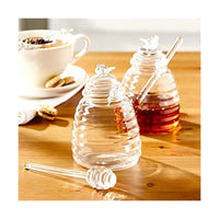 Glass Honey Pot with Lid and Dipping Stick