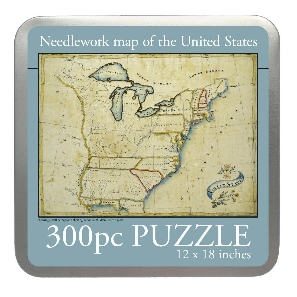 Needlework Map of the US, 300 Piece Puzzle