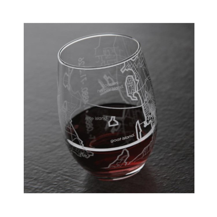 Newport Map Stemless Wine Glass