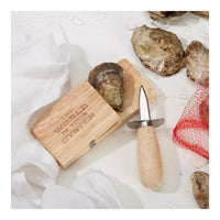 Wooden Block with Oyster Shuck