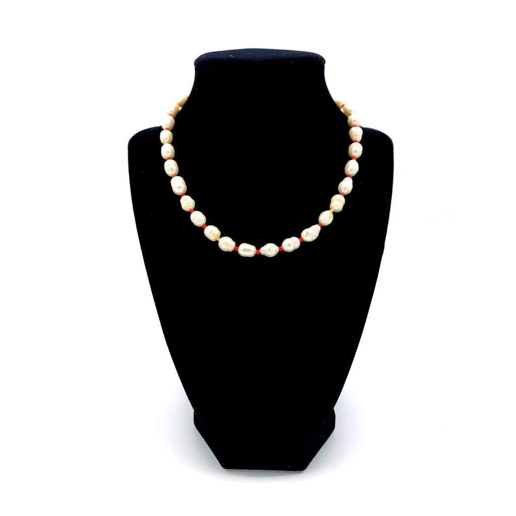 Freshwater Pearl with Red Seed Bead Necklace