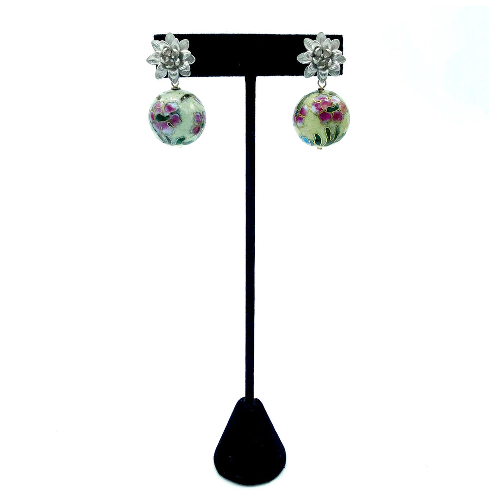 Silver Flower and Cloisonne Earrings