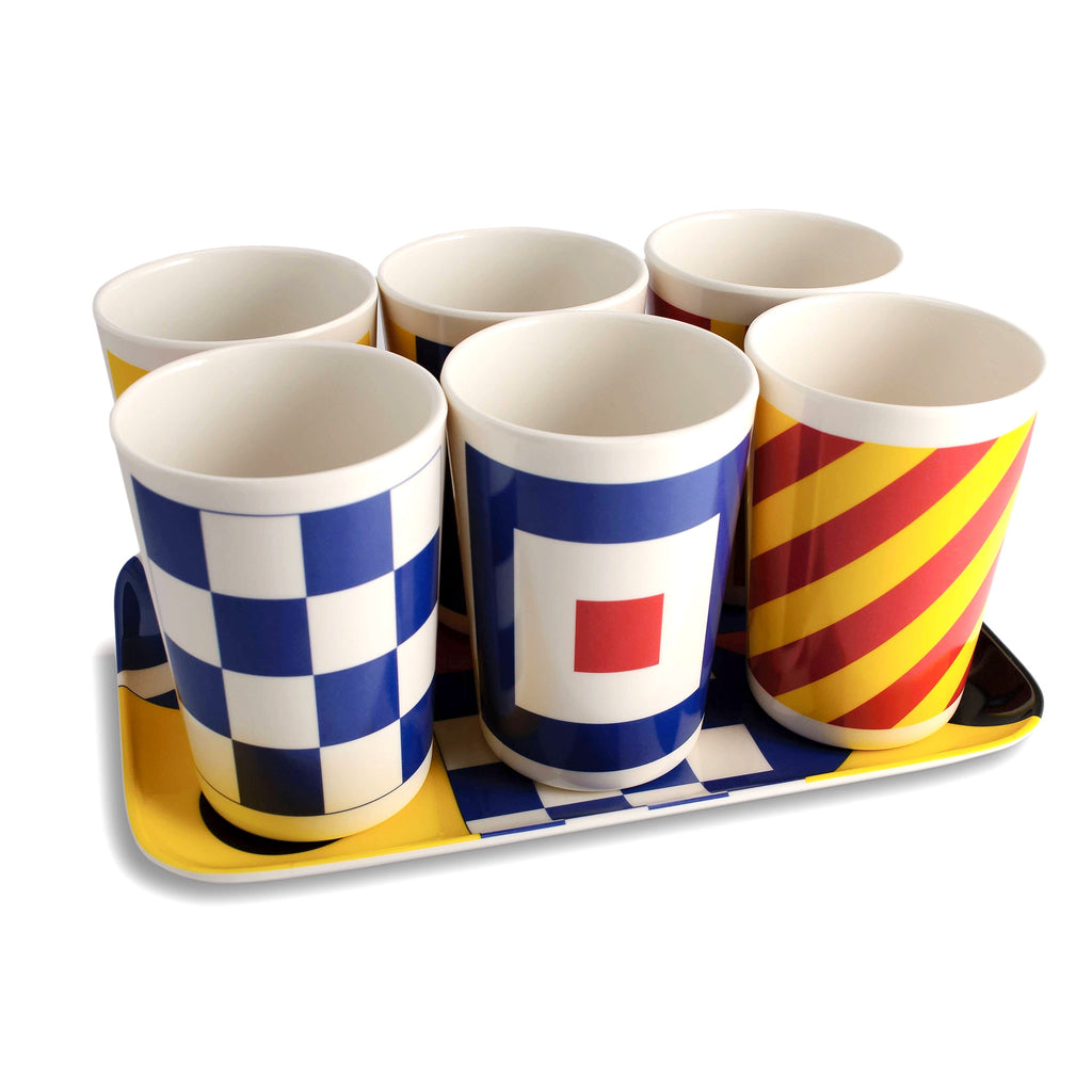 Nautical Tumblers with Tray Set