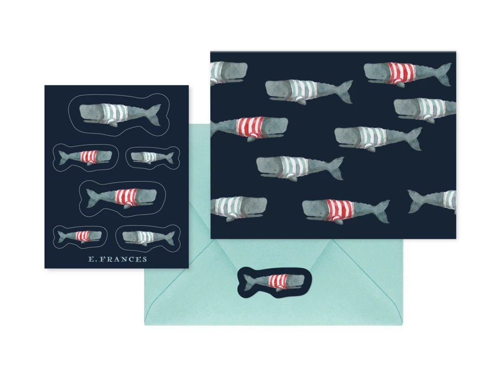 Swimming Frankies Notecard and Sticker Set