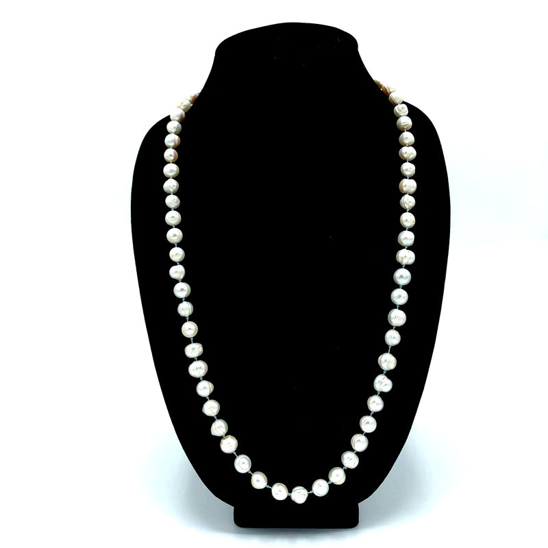 Freshwater Pearls on Blue Silk Necklace