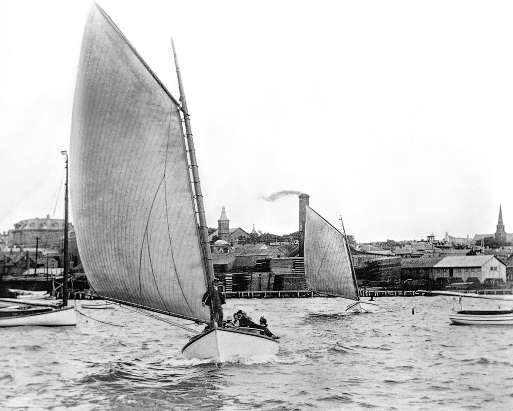 Catboat Sailing on Newport Harbor c. 1895