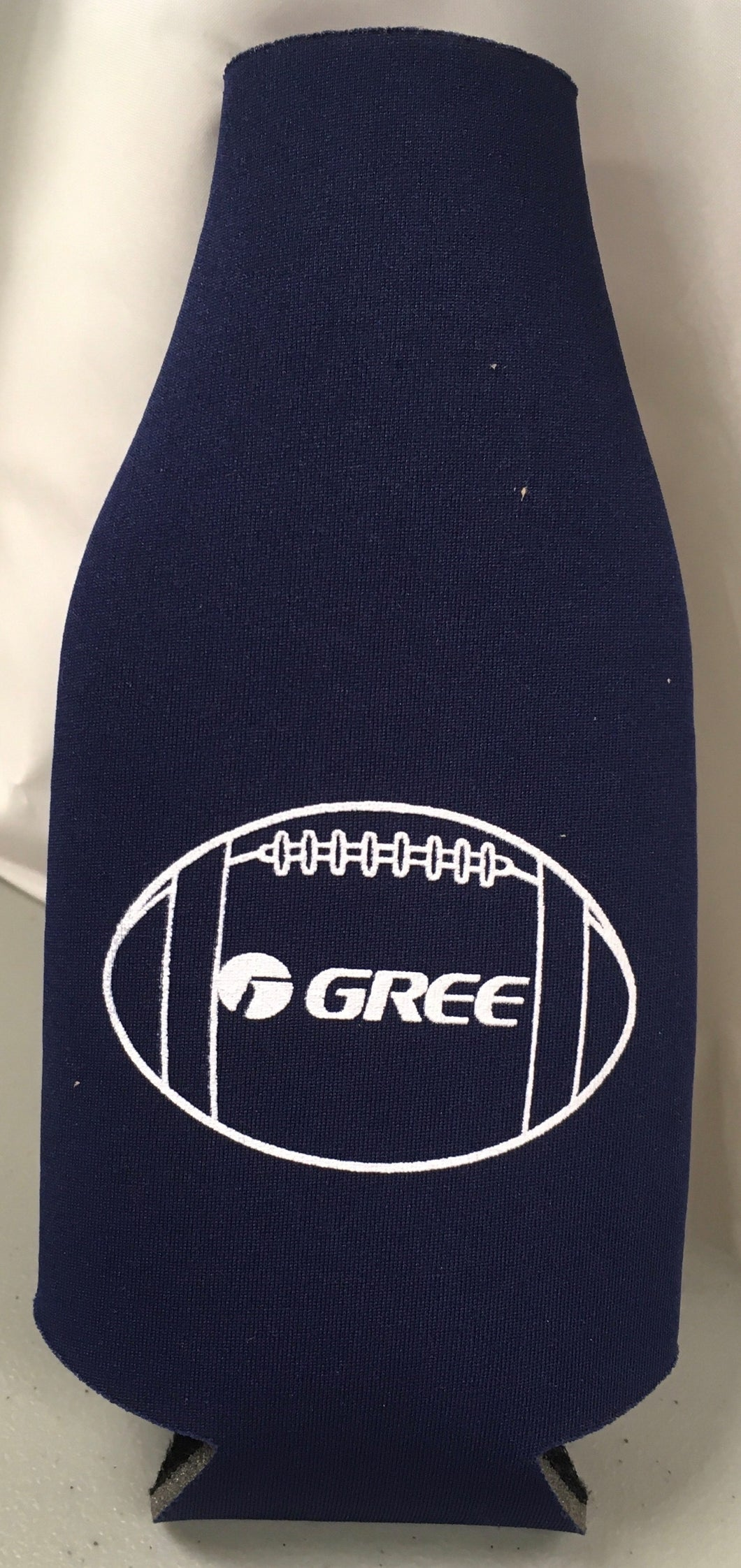 Navy Gree football  bottle koozie