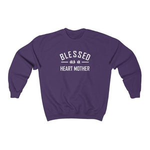 Blessed as a Heart Mother Crewneck Sweatshirt (white text)