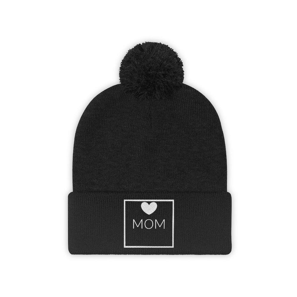 Heart Mom Box Pom Pom Beanie
