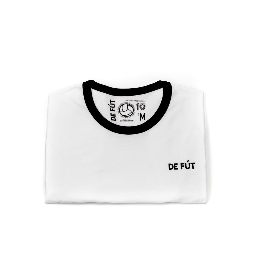 DE FÚT Ringer T - White (35% Off - STUDIO SALE)