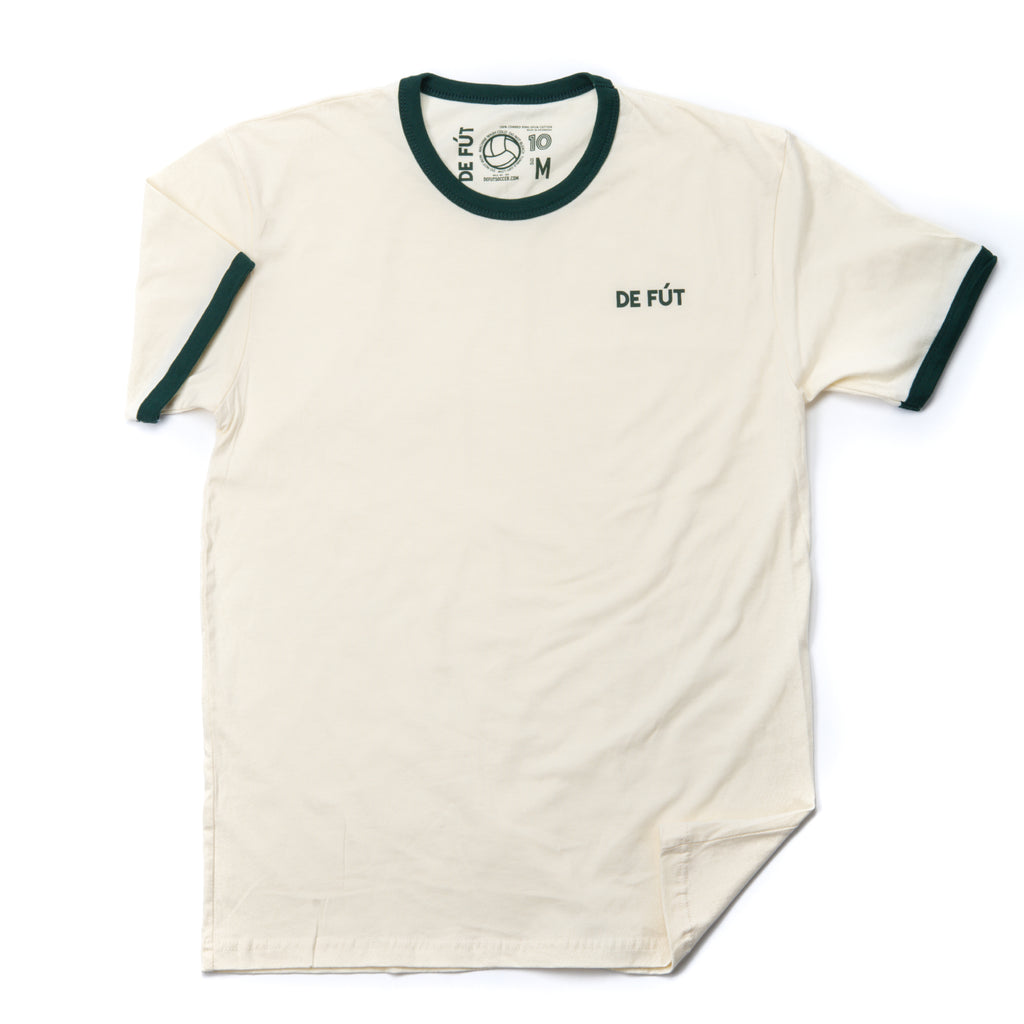 DE FÚT Ringer T in Natural with Forest Green | Iconic look, modern feel.