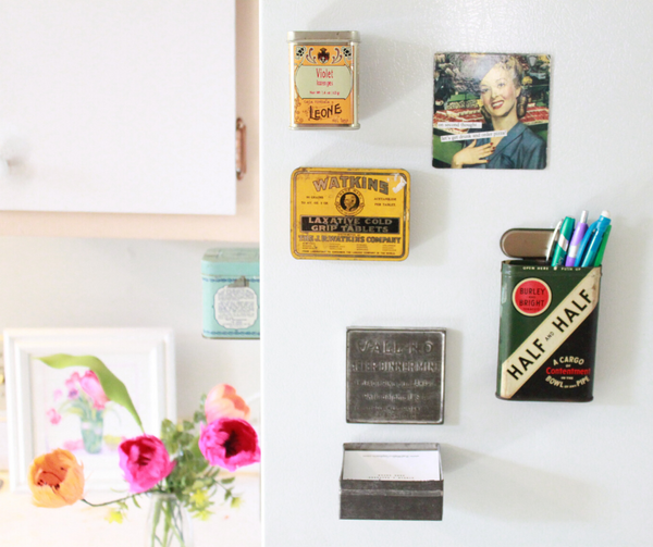 DIY: How to Turn Vintage Tins Into Fridge Magnets