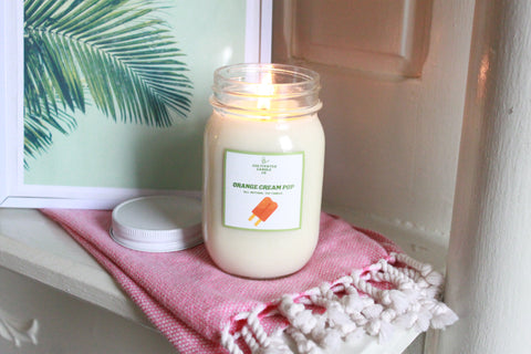 orange cream pop candle at cultivated candle co.