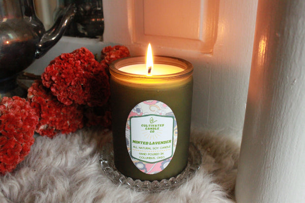 The Minted Lavender Candle at Cultivated Candle Co.