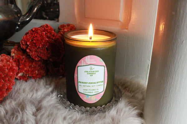 The Peachy Eucalyptus Candle at Cultivated Candle Co.