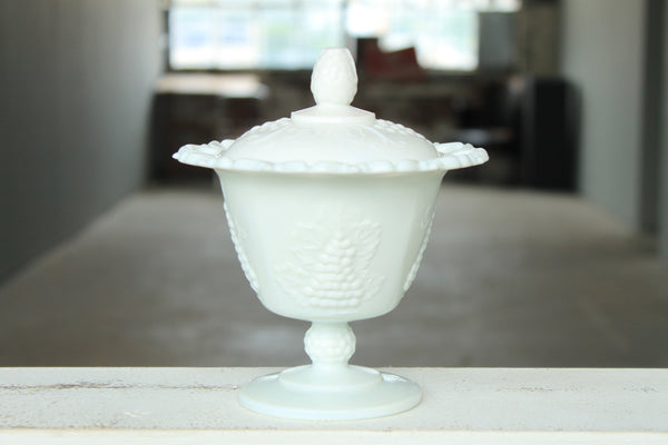 Milk Glass Harvest Grape Candy Dish Candle