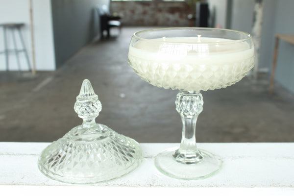 Pick the Scent - Clear Diamond Pattern Candy Dish Candle