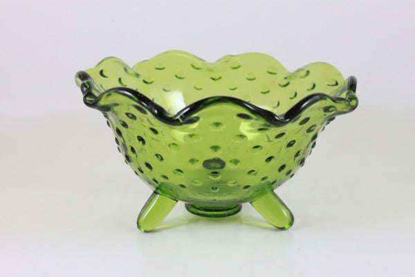 Pick the Scent - Ruffled Green Hobnail Glass Candle