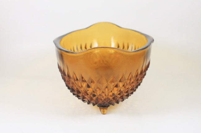 Pick the Scent - Large Amber Diamond Point Pattern Glass Candle