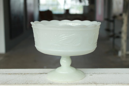Pick the Scent - Milk Glass Pedestal Florist Bowl Candle