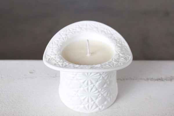 Milk Glass Daisy And Button Top Hat Candle