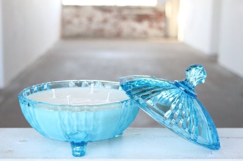 Aqua Footed Dish Candle