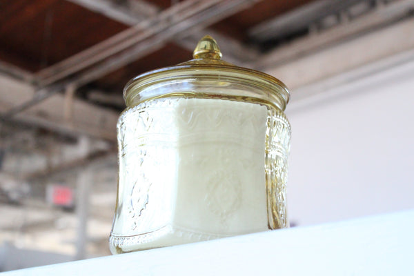 Yellow Depression Glass Cookie Jar Candle