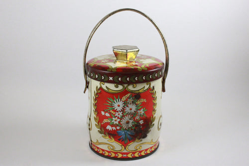 Pick the Scent -  Red & Gold Floral Basket Tin Candle