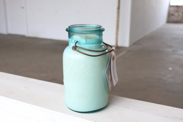 Vintage Blue Mason Jar w/ Glass Lid Candle