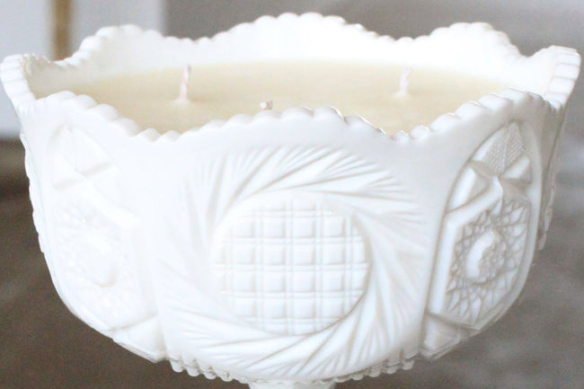 Milk Glass Fruit Bowl Candle