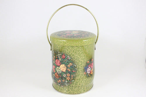 Pick the Scent -  Green & Gold Floral Basket Tin Candle