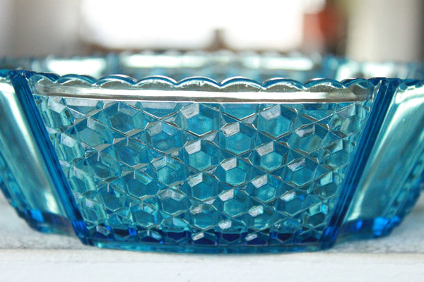 Pick the Scent - Early American Pattern Blue Glass Candle