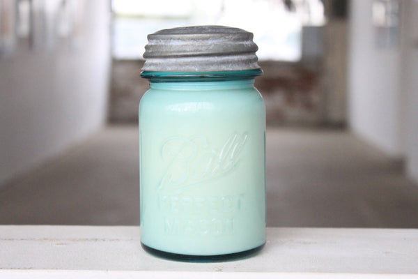 Vintage Blue Mason Jar Candle & Metal Lid