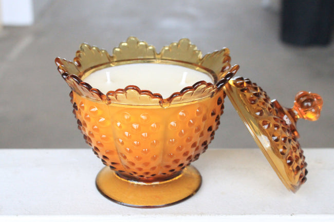 Amber Hobnail Pedestal Candy Dish Candle