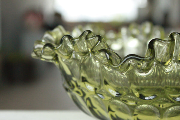 Pick the Scent -  Green Ruffled Rim Glass Candle