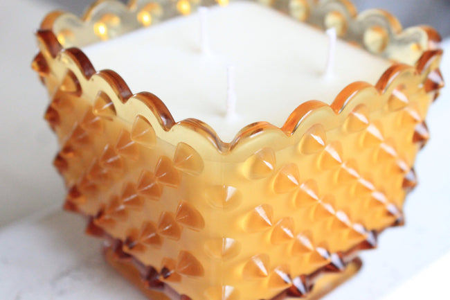 Amber Hobnail Glass Candle