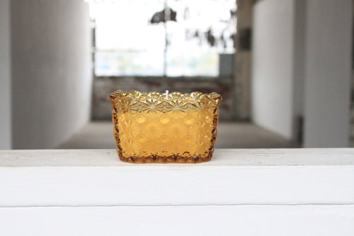 Amber Daisy & Button Glass Candle