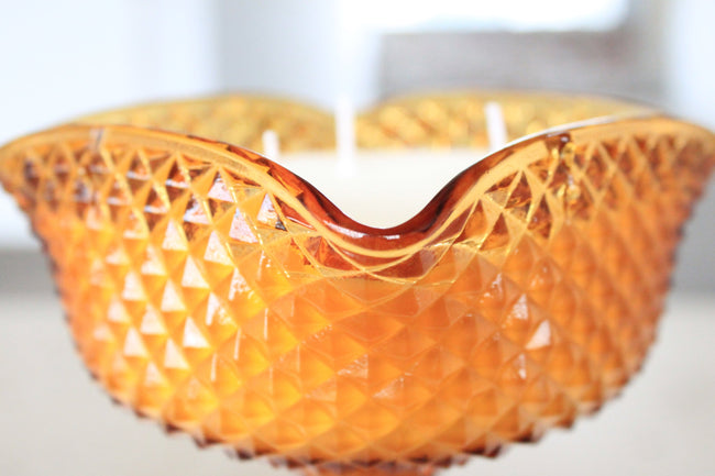 Amber Diamond Point Candy Dish Candle
