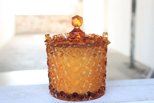 Amber Daisy & Button Dish Candle