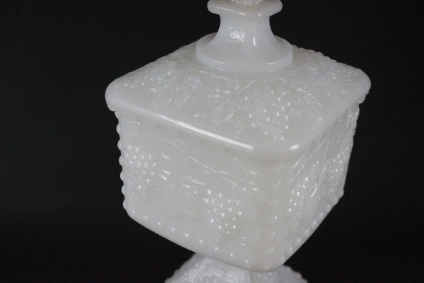 Pick the Scent - Milk Glass Harvest Grape Pedestal Candy Dish Candle