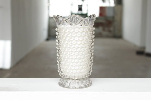 Clear Hobnail Dish Candle
