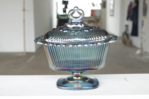 Pick the Scent - Carnival Glass Lace Edge Candy Dish Candle