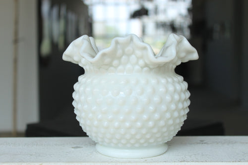 Pick the Scent - Ruffled Hobnail Milk Glass Candle