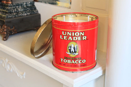 Compact Union Leader Tobacco Tin Candle