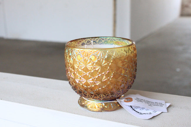Marigold Daisy & Button Glass Candle
