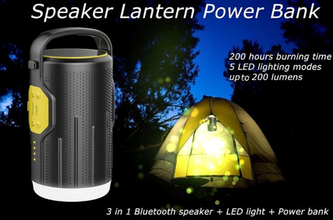 ACU Portable Waterproof Bluetooth Camping Lantern and Power Bank
