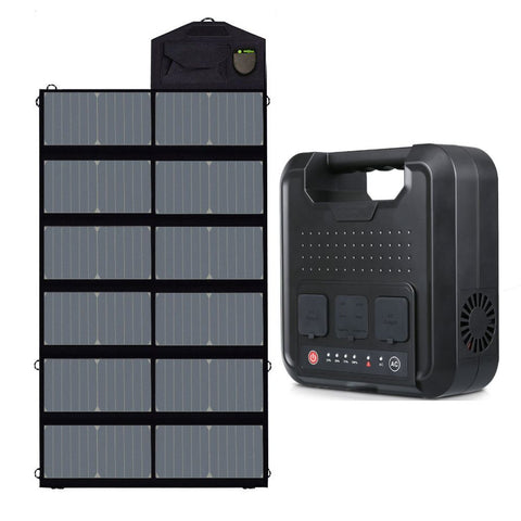300W Portable Power Station Emergency Generator With 80W Foldable Solar Panel