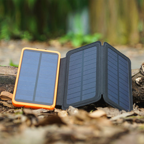 Solar Powered Rechargeable Phone Charger With LED Light
