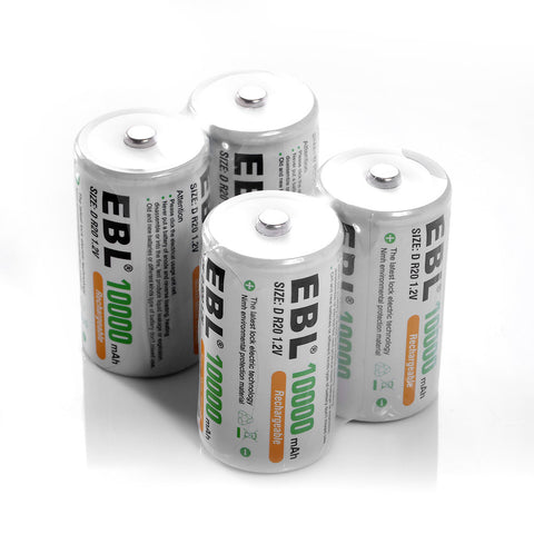 4 Pack Size D 10000mAh Ni-Mh Rechargeable Batteries