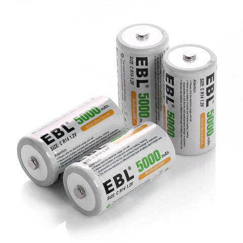 4 Pack Size C 1.2v 5000mAh Ni-Mh Rechargeable Batteries